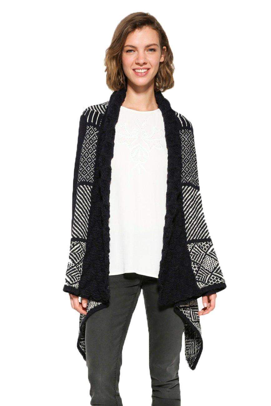 Desigual Women's Black & White Long Menta Cardigan S UK 10