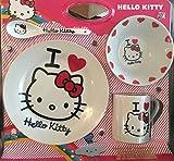 4tlg. Hello Kitty Geschirrset AUSWAHL Porzellan Teller, Müslischale, Tasse, Löffel Frühstücksset Geschirr