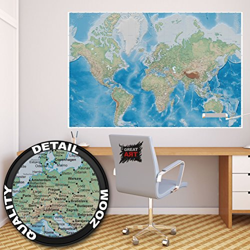Póster mapa mundial – imagen mural decoración proyecctión Miller mapa globo mundial la tierra geográfica con sus desños relifes | foto póster mural imagen deco pared by GREAT ART (140 x 100 cm)