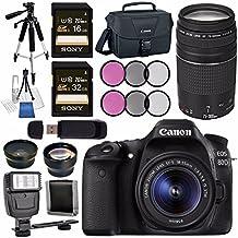 Canon EOS 80D DSLR Camera With 18-55mm Lens + Canon EF 75-300mm Lens + 58mm Wide Angle Lens + 58mm 2X Lens + Canon 100ES EOS Shoulder Bag Bundle