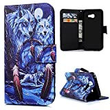 KASOS Galaxy A3 2017 Case, Deep Mix Blue Wolf feather Flip Wallet Leather Case Printed Pattern Cover Cash and Card Slots Pouch Magnetic Closure Secure Lock and Stand Feature TPU Bumper Shell Cradle