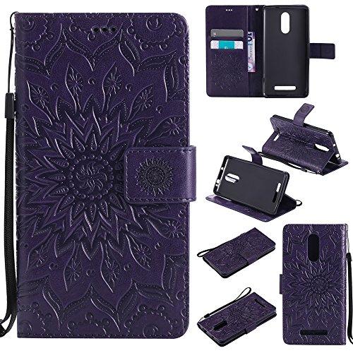 Für Xiaomi Hongmi Note 3 Fall, Prägen Sonnenblume Magnetic Pattern Premium Soft PU Leder Brieftasche Stand Case Cover mit Lanyard & Halter & Card Slots ( Color : Rose Gold ) Purple