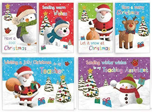 Giftmaker Collection 32 x Childrens Glitter Christmas Cards School Pack For Class Friends amp; Teachers