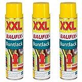 3 x Baufix Buntlack Sprühdose gelb XXL 600ml