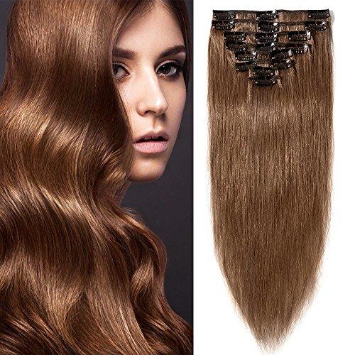 Clip in Extensions Echthaar Hellbraun #6 Haarverlängerung 8 Teile 18 Clips Remy Human Hair guenstig Glatt Haarverdichtung 60cm-80g