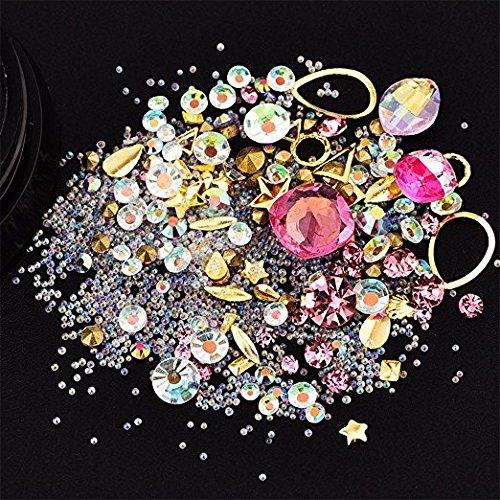 NICOLE DIARY 1 Boîte Mixte Diamant Strass Acrylique Mini Perles Coloré Gemme Alliage Cadre Métallique 3D Nail Art Glitter Cristal DIY Manucure Décorations (Rose Clair)