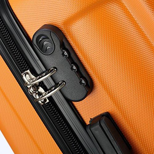 2045 Reisekoffer Koffer Trolley Hartschale XL-L-M in 12 Farben (Orangen, XL) - 2