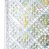Homein Fensterfolie Selbstklebende Folie für Fenster Bunt Sichtschutzfolie Selbsthaftend Klebefolie Blickdicht Sichtschutz Glastüren Bad Window Film ohne Kleber 3D Motiv Perlen 90 x 200 cm