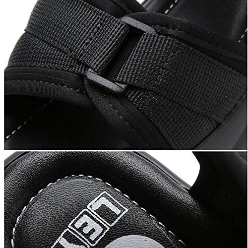 Sommer sandalen, 7 cm dicke Sandalen Weibliche Studenten Sommersandalen Römische Schuhe College Sportschuhe (Rot / Schwarz) Farbe / Größe optional ( Farbe : Schwarz , größe : EU36/UK3.5/CN35 ) Schwarz