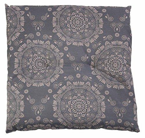 Hockerauflage Sitzpolster Gartenhockerauflage ANDORA 2 | 50 x 50 cm | Taupe| Baumwolle | Polyester