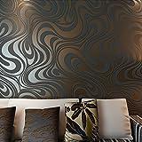 Hanmero Papier peint non tissé moderne et minimaliste avec courbes abstraites et paillettes 3D pour chambre à coucher, salon ou TV Marron