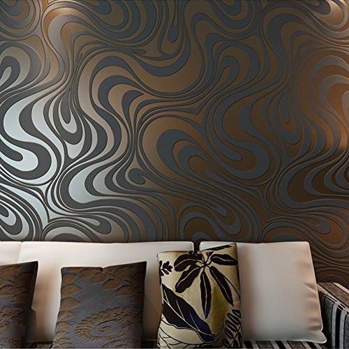 ... Hanmero Moderne Minimalist Abstrakt Kurven Glitzer Vliestapete 3D Für  Schlafzimmer Wohnzimmer TV Hintergrund Braun