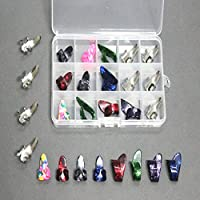 15 kit del pulgar celuloide pedales de guitarra dedo Elecciones + caja de la caja de cuadrícula