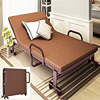 Beshomethings 3FT Folding Away Guest Single Beds with Mattresses Foldable Lounge Chair with Armrest and Adjustable Backrest,194cm x 90cm (Brown)