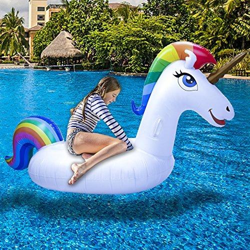 Pool Einhorn - Aufblasbare Pool Spielzeug, Einhorn Pool Aufblasbar, Pool Schwimmen, Pool Floß Umweltfreundlich PVC Aufblasbarer Schwebebett mit Speziellen Schnell Ventilen für Kinder / Erwachsene