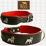 Woza Premium HUNDEHALSBAND FRANZÖSISCHE Bulldogge 3.3/47CM Vollleder MIT RINDNAPPA GEBUGGT Collar ОШЕЙНИК SCHWARZ/ROT