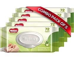 Huggies Nourshing Clean Baby Wipes - Cucumber & Aloevera, Pack of 5 (360 wipes)