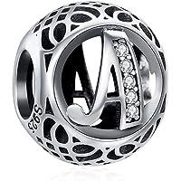 ChicSilver Femme Charme Argent 925 pour Bracelet,Breloque Perles Charms Lettres A-Z pour Bracelets,Bijoux Charms…