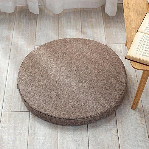 Style Japonais Rond Anti-dérapant Coussin,Épaissir Textile Rembourrage du canapé Coussin Fauteuil rotin pour Accueil Sol Plein air-F diamètre45cm(18inch) x5cm