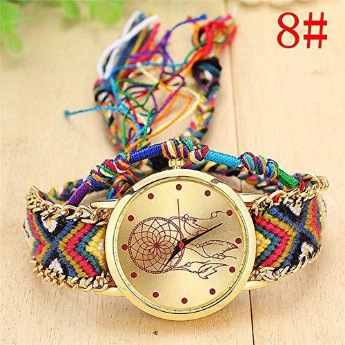 WLFPEG Mirar Relojes Damas Artesanales Nativas Reloj De Cuarzo Vintage Atrapasueños Relojes De La Amistad Reloj Casual