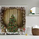 Rainbrace Anti-Schimmel Duschvorhang, Anti-Bakterieller Duschvorhang, waschbarer, wasserdichter Vorhang mit 12 Duschvorhangringen, aus 100% Polyester,mit Weihnachten Motiv Weihnachtsbaum(180 x 180cm)