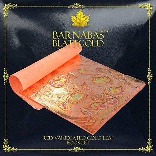Hoja de Oro Abigarrada (Roja), 14x14 cm, Librillo de 25 Hojas