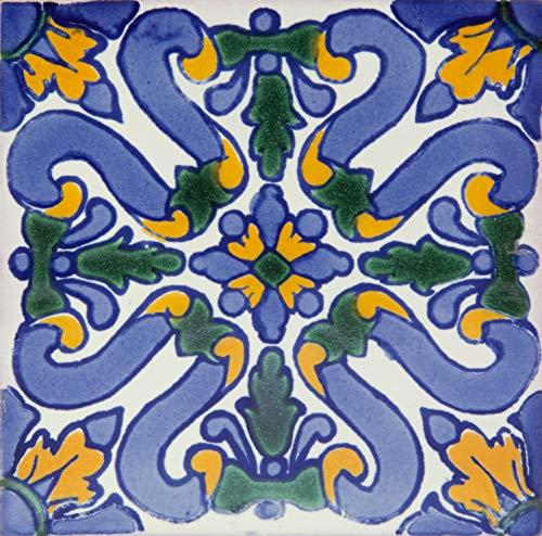 Piastrelle di Ceramica Messicana Flores 10x10cm | Confezione da 30 Tessere Fatte a Mano (0,3m²) | Piastrelle per Bagno e Cucina Talavera | Disegni spagnoli, marocchini, azulei