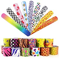 Syolee Toy 30pcs Slap Bracelets Slap Bands for Kids Party Bag Fillers Snap Bands Little Toys Party Favor Pack with Colorful Hearts Emoji Perfect for School Birthday Goodie Bag