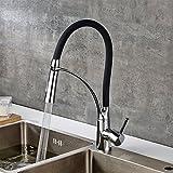 Fapully Küchenarmatur Wasserhahn Küche Mischbatterie Armatur Einhebelarmatur Spültischarmatur küchenspüle Chrom Schwarz
