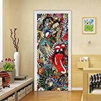 SZYUY Door Wall Wallpaper Creative Hippie Door Sticker 3D Hip Hop Glass Door Mural Sticker Bathroom Waterproof Self Adhesive Wallpaper Party Decoration