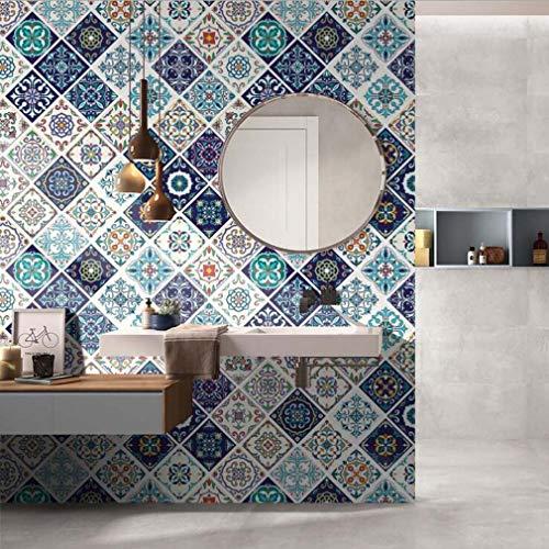 Pvc-decken-fliesen (JY ART Wandkunst Fliesen-Aufkleber Kreativ Küche Toilette Wasserdicht PVC Selbstklebend Tapete Marokkanischer Stil Dekorativer Aufkleber, 6, 60 * 200CM)