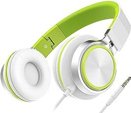 Headset, Honstek Faltbarer und Leichter on-Ear Kopfhörer, Stereo Kabelgebundenes Komfortables Headset für iPhone iPad Android Handys Computer Tablets MP3/MP4(Weiß/Grün)