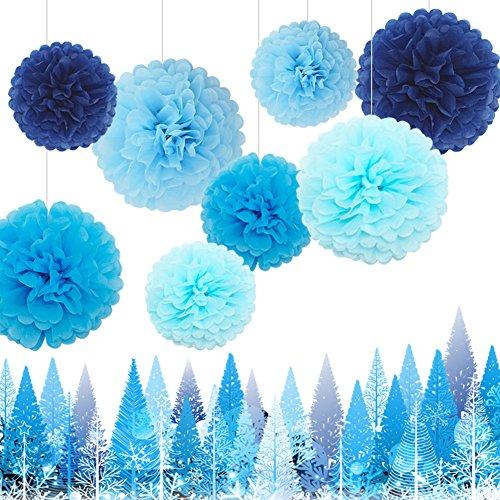 Feelshion 8x Seidenpapier Dekoration PomPoms Tissue PomPons Papierblume für Hochzeit Baby shower Partei Feier kommunion Blau