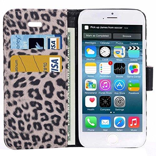 Etui en cuir Flip Case imprimé léopard avec embouts et support pour iPhone 6 et 6S YAN ( Color : Grey ) Grey