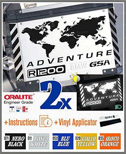 10pcs Kit RIFRANGENTI Adesivi compatibile con Touratech Valigie Laterali Alluminio per Moto R1200GS BMW Motorrad ADVENTURE R1200 GS LC Black Doves Graphics (Black 071)