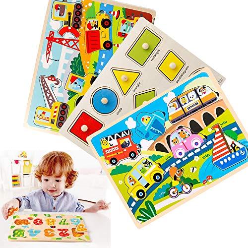MUYU 3 Stück Holzpuzzle Kinder Puzzle Spielzeug Aufklärungspuzzle für die frühe Aufklärung Am besten für 2-5-jährige Kinder und Mädchen im Vorschulalter,B