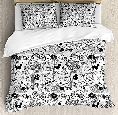 Soefipok Schwarz-Weiß-Bettbezug-Set King Size, Punk Teenager Muster Kassette Tastatur Ghost Heart und Boombox Doodle Floral Bettbezug und Kissen Shams Bed Set, schwarz weiß