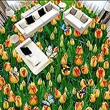 Syssyj 3D Bodenfliesen Wandbild Tapete Benutzerdefinierte Stereo Pastoralen Tulpen Blume Boden Malerei Aufkleber Bad Vinyl WasserdichteWandbild-280X200CM