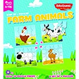 EduQuest - Jigsaw Puzzle - Farm Animals - 4+ Years Old - Set Of 4 Puzzles - 10,15,20,25 Piece Puzzles - Chicken/Hen (10 Piece), Cow (15 Piece), Sheep (20 Piece), Camel (25 Piece)