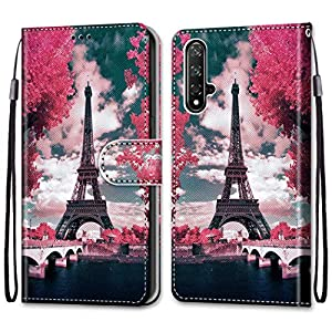 Nadoli Colorful Wallet Case for Huawei Honor 20,Cool Funny Animal Floral Butterfly Creative Design Pu Leather Magnetic Flip Cover with Card Slots and Wrist Strap   2