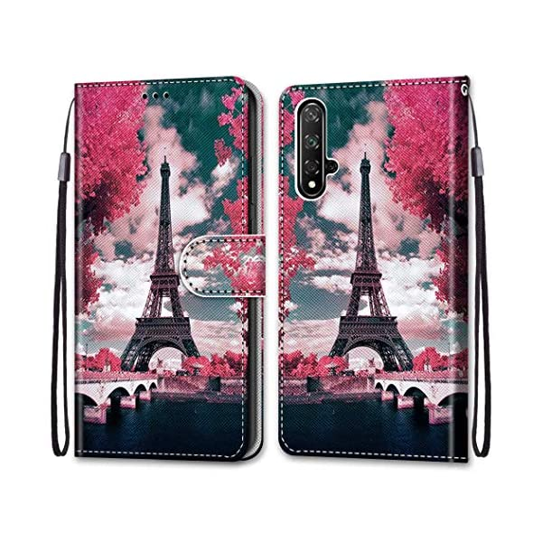 Nadoli Colorful Wallet Case for Huawei Honor 20,Cool Funny Animal Floral Butterfly Creative Design Pu Leather Magnetic Flip Cover with Card Slots and Wrist Strap Nadoli Only Compatible for Huawei Honor 20 Material: PU Leather + Tpu,Convenient and practical stand design,you can read,watch movies,liberate your hands more efficient work Anti Dust,Anti-Fall, 360 degree protective your mobile phone.convenient for carrying 1