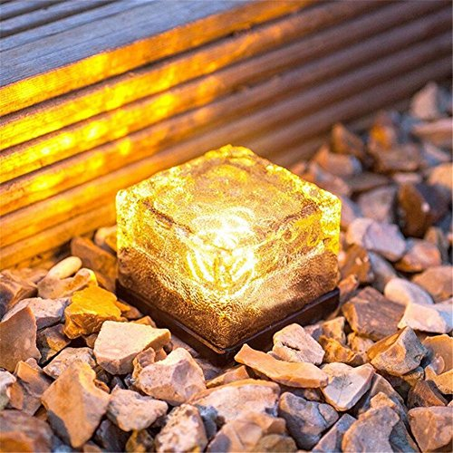 Loveusexy Solar Garden Light wasserdichte LED begraben Lights Ice Cube Glas Steine Rock Lampe für Outdoor pewter Garten Yard Pack of 1PC & Warm White