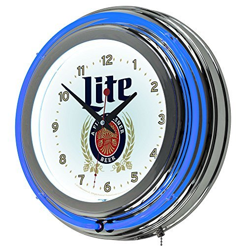 trademark-gameroom-miller-lite-chrome-double-rung-neon-clock-by-trademark-gameroom