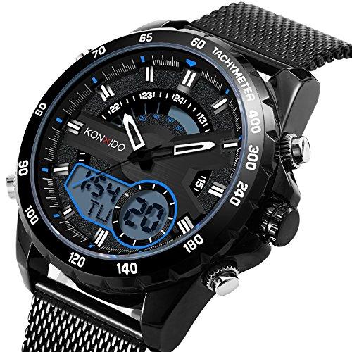 KONXIDO Uhr KX6361 (Dual Time Edelstahl Armbanduhr Digital)