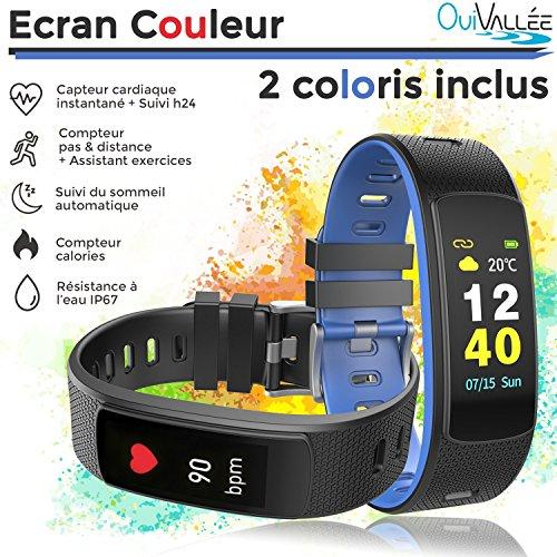 OuiVallée Bracelet connecté écran couleur MyPulse 2 - Marque Française - Tracker Activité physique - Bluetooth Capteur Cardiaque Podomètre Sommeil