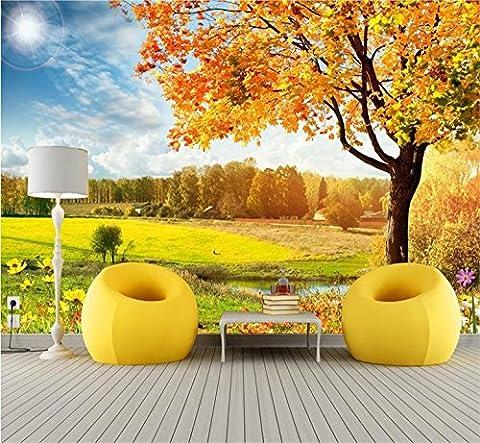 HUANGYAHUI 3D Fresco, Autumn Maple Landscape, Living Room Tv Background Wallpaper, Bedroom Sofa, Seamless Non-Woven
