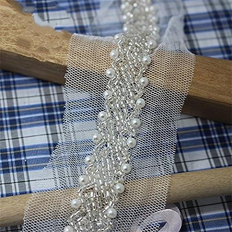 Encaje con perlas beads-vintage estilo cinta de encaje Recorta Costura Craft Accesorios Adornos para Boda Mujer y vestidos de novia…