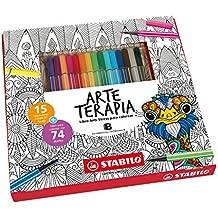 STABILO Pen 68 pack Arte Terapia – Estuche con 15 rotuladores Premium Pen 68 y libro de Arte Terapia