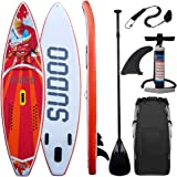 Triclicks Stand Up Paddle Gonflable 300x75x15cm (Ép), Pompe Haute Pression, Pagaie/Leash/Sac, Aileron Central Amovible, Kit de Réparation