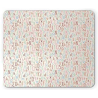 BAOQIN Mouse Pad,ABC Kids Mouse Pad, Abstract Soft Toned Letters Education Uppercase Artistic Playroom Baby Pattern, Standard Size Rectangle Non-Slip Rubber Mousepad, Multicolor